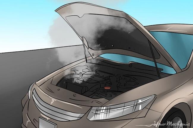 Ilustracija podignutog poklopca haube