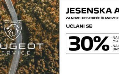 Peugeot jesenska akcija – 30% popusta na set razvoda motora i na metlice brisača