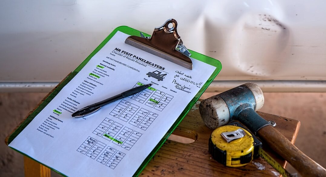 Papir s popisom stvari za tehnički pregled i kemijska